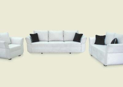 Garnitura Basra bele boje sa plavim jastucima