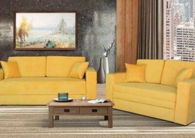 Dva dvoseda žute boje sa žutim jastucima