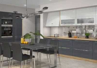 Tamno siva kuhinja sa sivim trpezarijskim stolom i stolicama