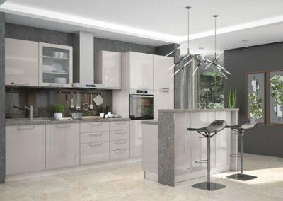Svetlo siva kuhinja sa sivim barom i barskim stolicama