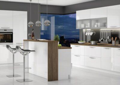 Moderna bela kuhinja sa barom na sredini i barskim stolicama