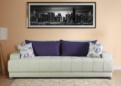 Moderni dvosed na razvlačenje sa jastucima ljubičaste boje