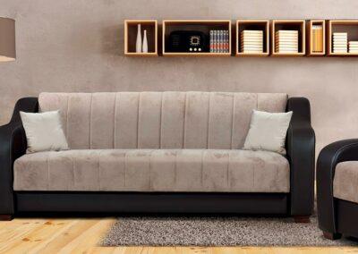 Elegantni kauč nina sa tamnim okvirom
