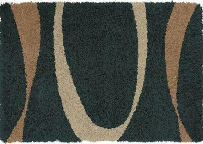 Tamnoplavi tepih sa dezenom elipsi braonkastih boja