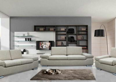 Komplet, trosed, dvosed i fotelja sivkaste boje