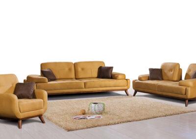 Moderna tamno žuta garnitura sa braon jastucima